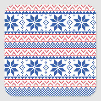 Nordic Snowflakes Christmas Pattern Square Sticker