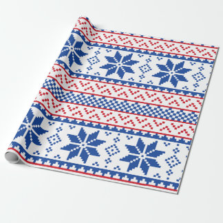 Nordic Snowflakes Christmas Pattern Wrapping Paper
