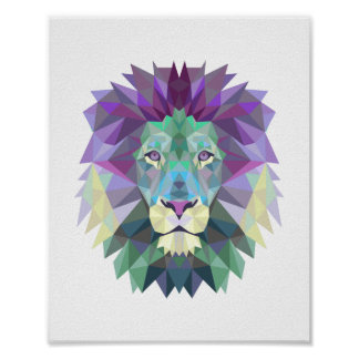 Nordic style geometrical lion poster