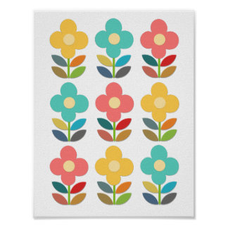Nordic Style Stems and Flowers Poster
