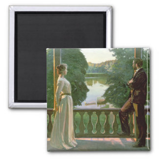 Nordic Summer Evening, 1899-1900 2 Inch Square Magnet