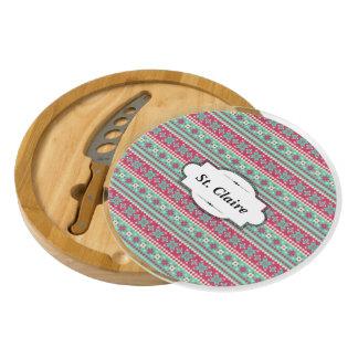 Nordic Teal and Raspberry Custom Cheese Board Round Cheeseboard