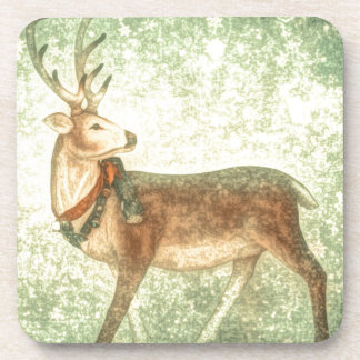 Nordic vintage scandinavian christmas reindeer beverage coaster