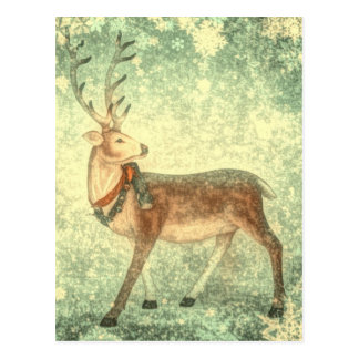 Nordic vintage scandinavian christmas reindeer postcard