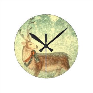Nordic vintage scandinavian christmas reindeer round clock