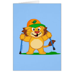 Greeting Card with Nordic Walking Panda & Lion design