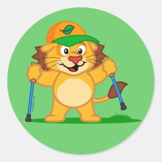 Nordic Walking Lion Round Sticker