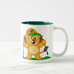 Two-Tone Mug with Nordic Walking Panda & Lion design