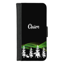 Nordic woods by night and wildlife northern lights iPhone 8/7 wallet case