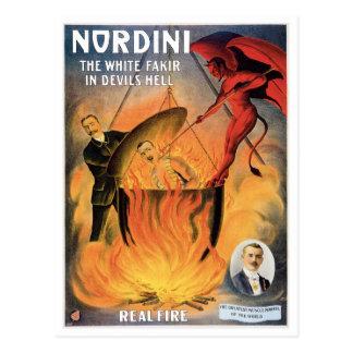 Nordini~ en acto mágico del vintage del infierno tarjeta postal