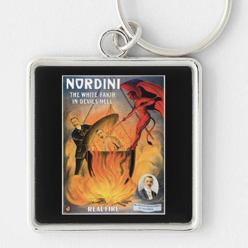 Nordini~ In Devils Hell Vintage Magic Act Silver-Colored Square Keychain