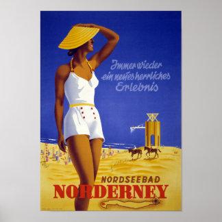 Nordseebad Norderney Germany Vintage Poster Restor