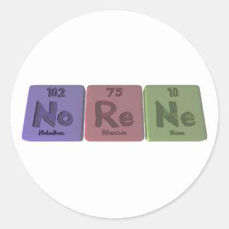 Norene as Nobelium Rhenium Neon Classic Round Sticker