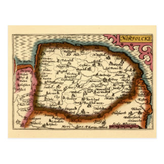 Norfolcke Norfolk County Map Postcards