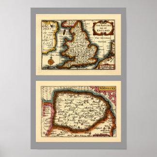 """Norfolcke"" Norfolk County Map Print"