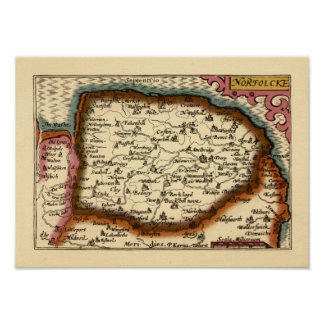 """""""Norfolcke"""" Norfolk County Map Poster"""