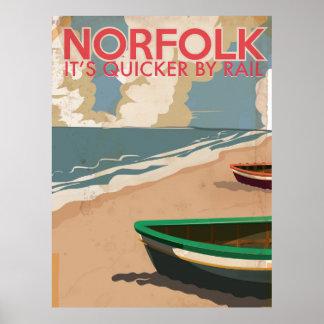 Norfolk, England Vintage Travel Poster