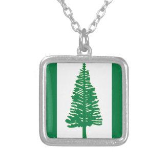 Norfolk Island Flag Square Pendant Necklace