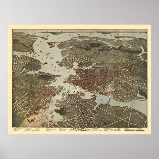 Norfolk, mapa panorámico del VA - 1891 Posters