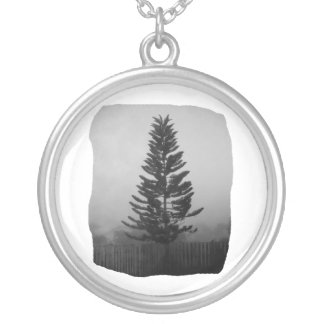 Norfolk Pine Black and White Picture Foggy Round Pendant Necklace