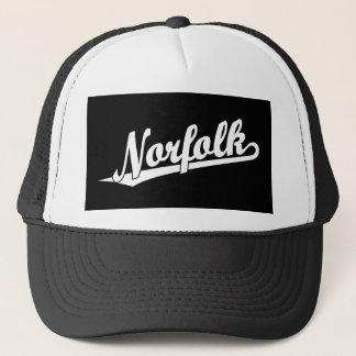 Norfolk script logo in white trucker hat