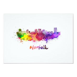 Norfolk skyline in watercolor card