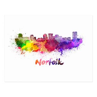 Norfolk skyline in watercolor postcard