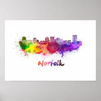 Norfolk skyline in watercolor poster