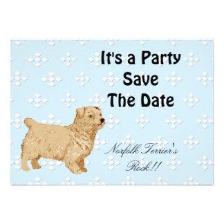 Norfolk Terrier - Blue w White Diamond Design Custom Invitations