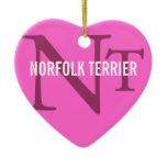 Norfolk Terrier Breed Monogram Ceramic Ornament