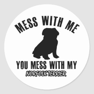 Norfolk terrier designs classic round sticker