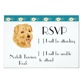 """Norfolk Terrier - diseño floral de la turquesa Invitación 3.5"""" X 5"""""""