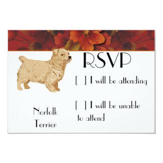 """Norfolk Terrier - diseño floral del otoño Invitación 3.5"""" X 5"""""""