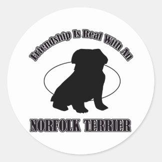 NORFOLK TERRIER DOG DESIGNS CLASSIC ROUND STICKER