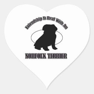 NORFOLK TERRIER DOG DESIGNS HEART STICKER