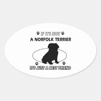 NORFOLK TERRIER dog designs Oval Sticker
