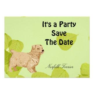 Norfolk Terrier Green Leaves Design Invite