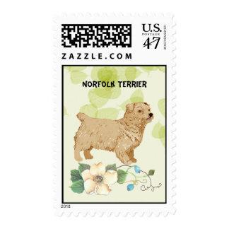 Norfolk Terrier ~ Green Leaves Design Postage Stamp