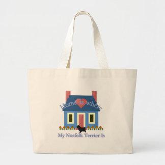Norfolk Terrier Home Is Large Tote Bag