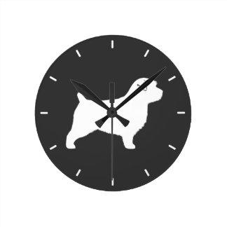 Norfolk Terrier Silhouette Round Clock