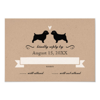 Norfolk Terrier Silhouettes Wedding Reply RSVP Card