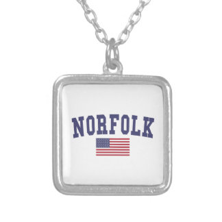 Norfolk US Flag Square Pendant Necklace