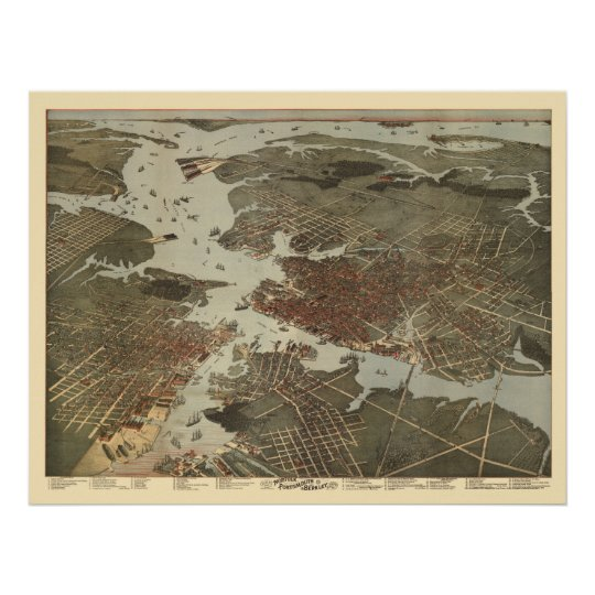 Norfolk, VA Panoramic Map - 1891 Poster