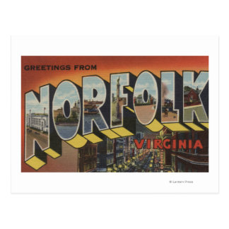 Norfolk, Virginia - Large Letter Scenes Postcard
