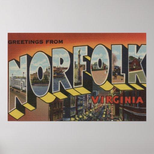 Norfolk, Virginia - Large Letter Scenes Posters