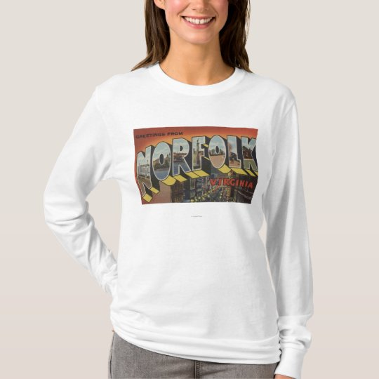 Norfolk, Virginia - Large Letter Scenes T-Shirt