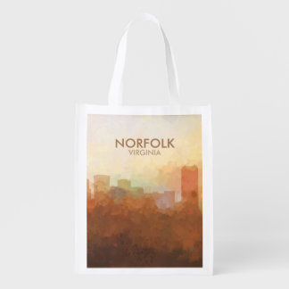 Norfolk Virginia Skyline IN CLOUDS Reusable Grocery Bag