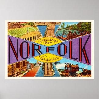 Norfolk Virginia VA Old Vintage Travel Postcard- Poster