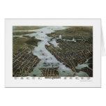 Norfolk y Portsmouth, mapa panorámico del VA - 187 Tarjetas