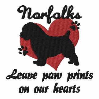 Norfolks Leave Paw Prints Embroidered TShirt